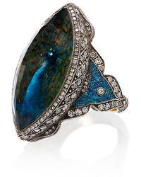 Sevan Biçakci Anillo con aplique de cuarzo y diamantes - Azul