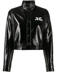 Courreges ロゴ クロップドジャケット - ブラック