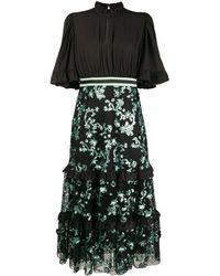 Three Floor Sequins Embellished Flared Dress - Black