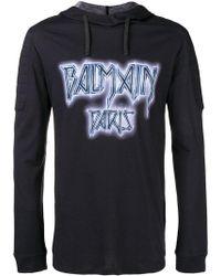 Balmain - Printed Hooded T-shirt - Lyst