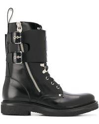 Balmain Buckled Biker Boots - Black