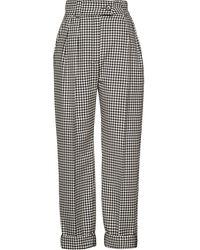Miu Miu Pantalon taille haute à carreaux vichy - Noir