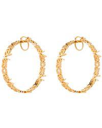 Versace Logo Hoop Earrings - Metallic