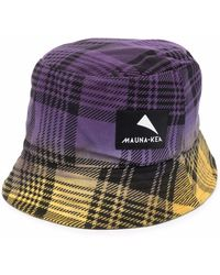 Mauna Kea Check-print Logo-patch Bucket Hat - Purple