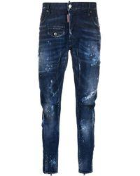 DSquared² Skinny-Jeans in Distressed-Optik - Blau
