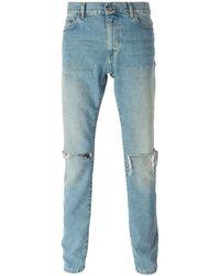 Saint Laurent - Distressed Slim Jeans - Lyst