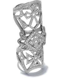 Loree Rodkin 14kt White Gold Bondage Classic Pave Diamond Cross Ring - Metallic