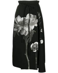 Valentino Floral Print Midi Skirt - ブラック