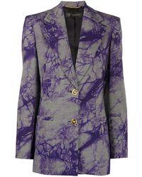 Versace Tie-dye Houndstooth Blazer - Blue