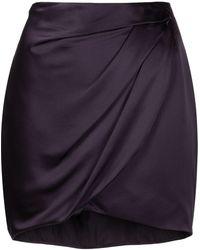 Michelle Mason ドレープ シルクミニスカート - パープル