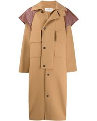 Lanvin Leather-cape Oversized Wool-blend Coat - Brown