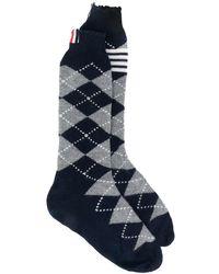 Thom Browne Rwb Argyle Intarsia Cashmere Socks - Grey