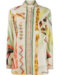 Etro Рубашка Aloe С Длинными Рукавами И Принтом - Многоцветный