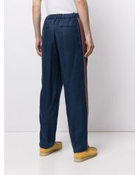 Coohem Pantalon de costume à bandes contrastantes - Bleu