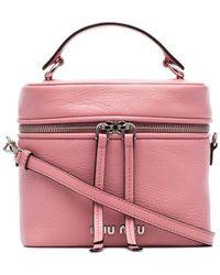 Miu Miu Kleine Roze Bucket Tas Met Handgreep