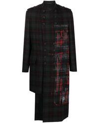 Yohji Yamamoto Single-breasted Tartan-patterned Coat - Black