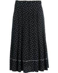 Ports 1961 Patterned Pleated Skirt - Black