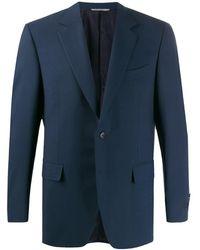 Canali Blazer en maille fine - Bleu