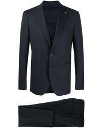 Tagliatore Dreiteiliger Anzug mit Metallic-Details - Blau