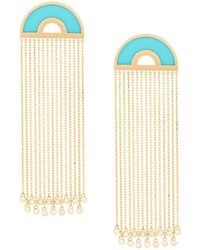 Nevernot Embellished Drop Earrings - Blue