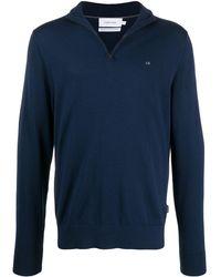 Calvin Klein Embroidered Logo Wool Jumper - Blue