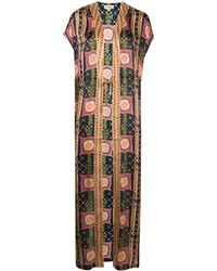 Temperley London Etoile-print Silk Kaftan - Blue