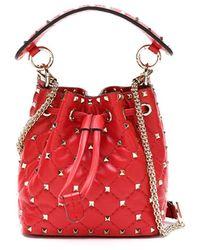 Valentino Garavani Rockstud Spike Bucket Bag - Red