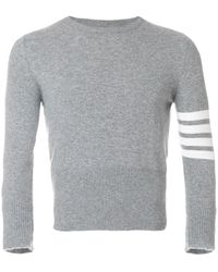 Thom Browne Short Crewneck Pullover With 4-bar Stripe In Light Grey Cashmere