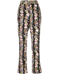 Equipment Floral Flared Trousers - Zwart