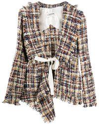 Lanvin Asymmetric Tweed Jacket - White