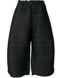 Pleats Please Issey Miyake Pleated Wide Leg Culottes - Black