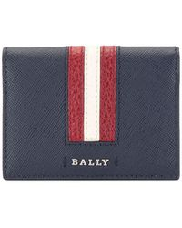 Bally Striped Logo Wallet - Blue