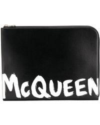 Alexander McQueen Clutch con stampa - Nero