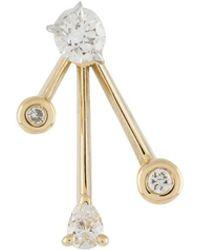 LE STER Boucle d'oreille Crackle en or jaune 18ct ornée de diamants - Métallisé