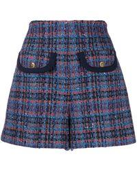 Sandro Plaid Tweed Shorts - Blue