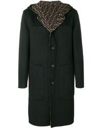 Fendi Hooded Midi Coat - ブルー