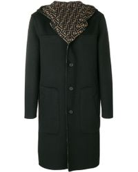 Fendi Hooded Midi Coat - Синий