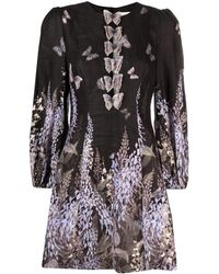 Zimmermann Butterfly-print Flared Short Dress - Black