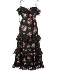 Zimmermann Honor Floral-print Tiered Silk Midi Dress - Black