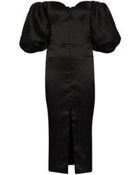 Rasario オフショルダー パフスリーブドレス - ブラック