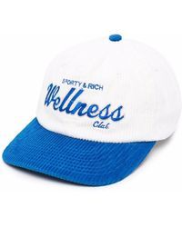 Sporty & Rich Embroidered Corduroy Cap - White