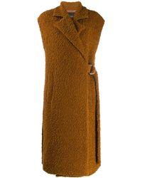 Erika Cavallini Semi Couture Shearling Mid-length Gilet - Brown