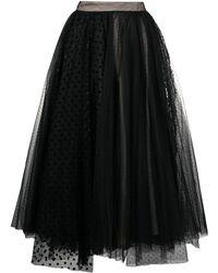 BROGNANO Tulle Layered Midi Skirt - Black