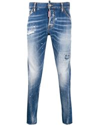 DSquared² Skinny-Jeans in Distressed-Optik - Blau