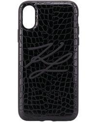 Karl Lagerfeld Чехол Для Iphone X/xs С Тиснением Под Кожу Крокодила - Черный
