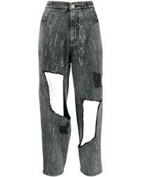 Philosophy Di Lorenzo Serafini Embellished Distressed Jeans - Gray