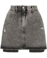 Off-White c/o Virgil Abloh - High-waisted Acid Wash Denim Skirt - Lyst