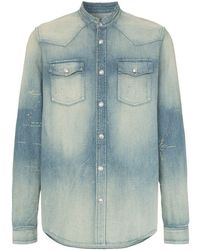 Balmain - Джинсовая Рубашка Без Воротника С Вышивкой Логотипа - Lyst