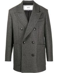 AMI Короткое Двубортное Пальто - Серый