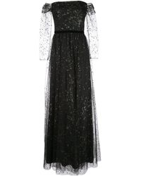 Marchesa notte Off-the-shoulder Glitter Tulle Gown - Black